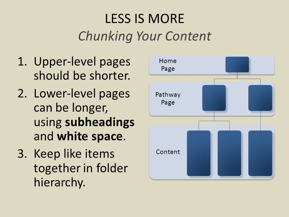 LESS IS MORE Chunking Your Content 1.Upper-level pages should be shorter.