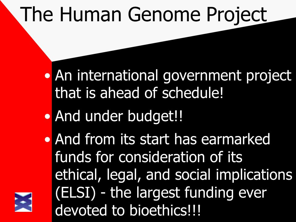 The Human Genome Project An international government project that is ahead of schedule! And under budget!! And from its start has earmarked funds for