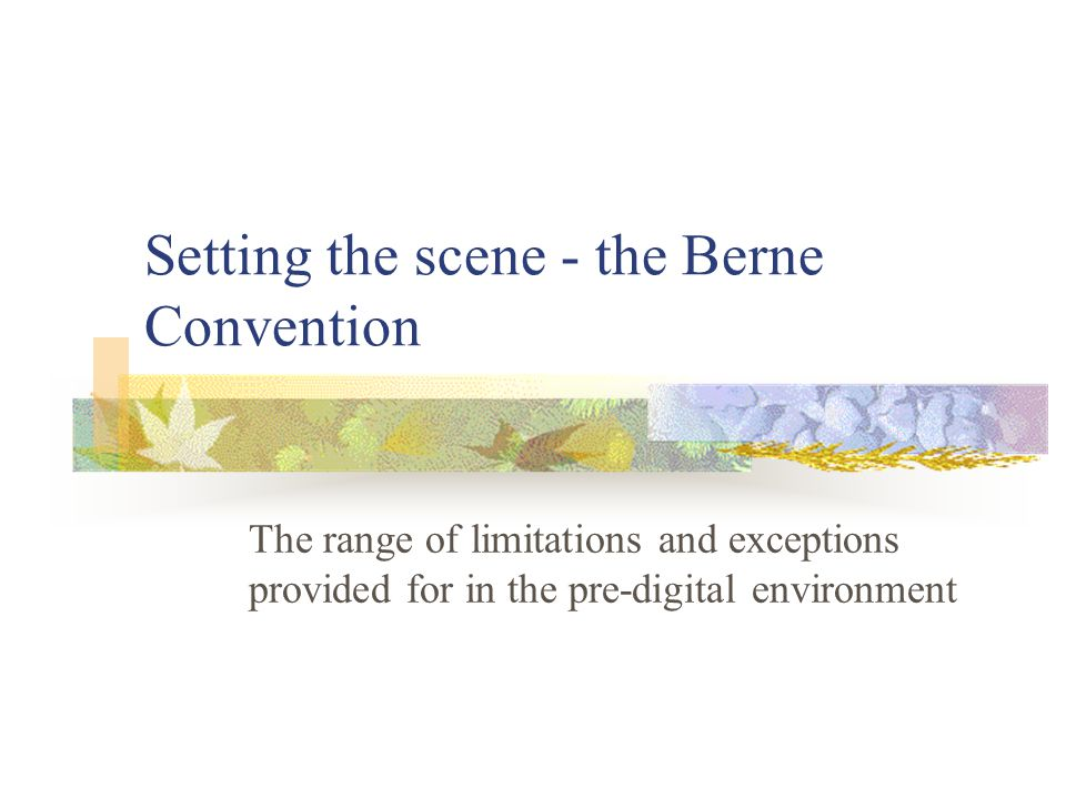 Setting the scene - the Berne Convention The range of limitations and exceptions provided for in the pre-digital environment