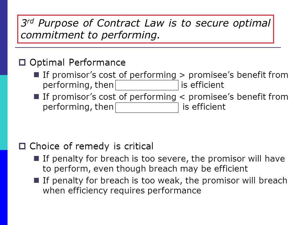 Optimal Performance If promisors cost of performing > promisees benefit from performing, then breach is efficient If promisors cost of performing < pr
