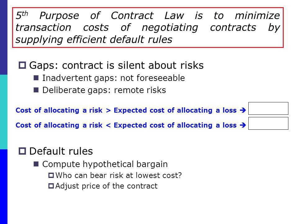 Gaps: contract is silent about risks Inadvertent gaps: not foreseeable Deliberate gaps: remote risks Default rules Compute hypothetical bargain Who ca
