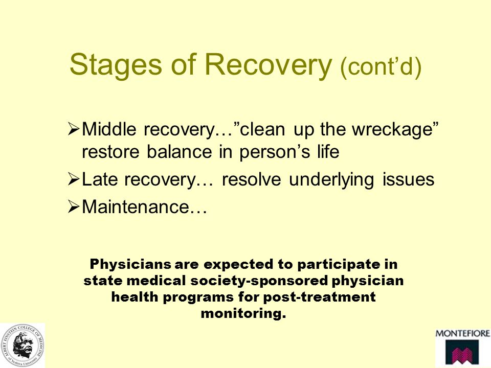 Stages of Recovery (contd) Middle recovery…clean up the wreckage restore balance in persons life Late recovery… resolve underlying issues Maintenance… Physicians are expected to participate in state medical society-sponsored physician health programs for post-treatment monitoring.