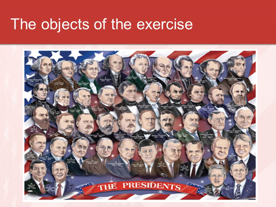 The objects of the exercise