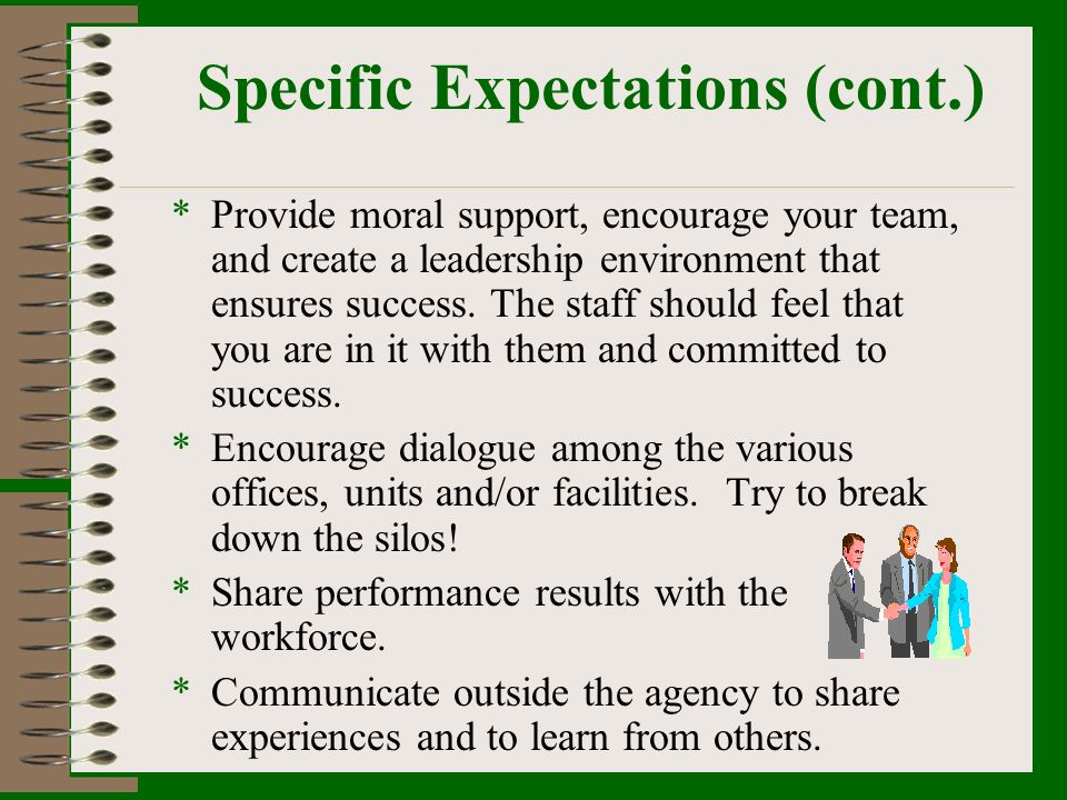 Specific Expectations (cont.) *Provide moral support, encourage your team, and create a leadership environment that ensures success. The staff should