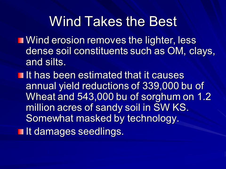 Wind Takes the Best Wind erosion removes the lighter, less dense soil constituents such as OM, clays, and silts.