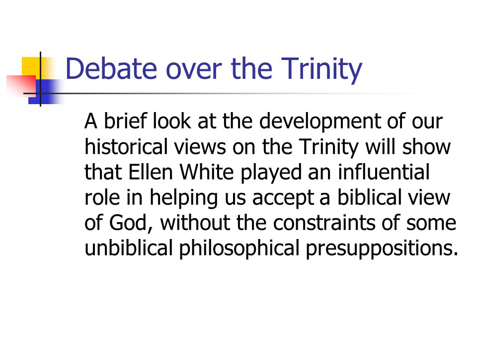 Dissatisfaction with anti- Trinitarianism, 1888-1898 Jerry Moon: Waggoner was not yet fully trinitarian [by 1890 when he wrote his book Christ and His Righteousness], but he saw clearly that a more exalted conception of Christs work of redemption demanded a higher conception of his being as Deity.