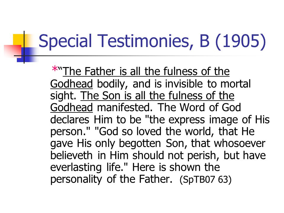 Special Testimonies, B (1905) *The Father is all the fulness of the Godhead bodily, and is invisible to mortal sight.