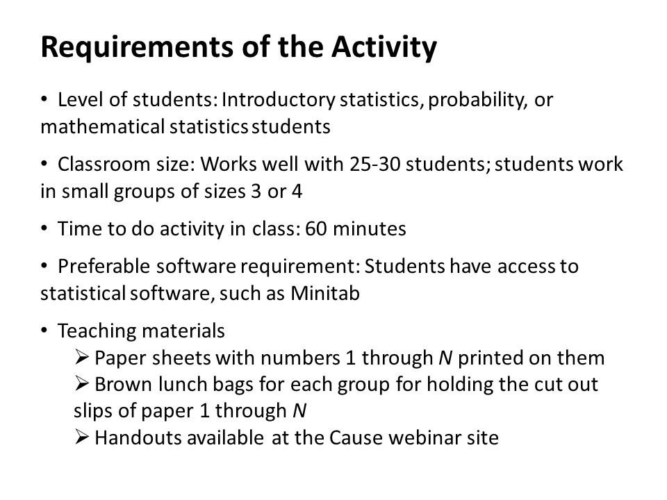 Instructions for Students 0.Form Allied Statistician Units of size 3 or 4 1.