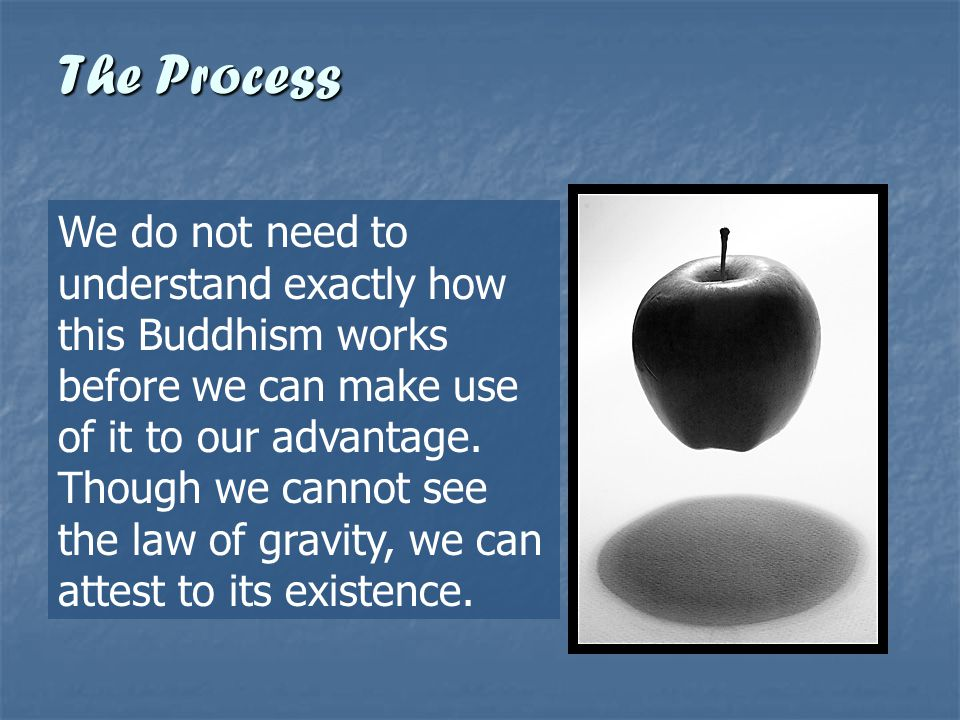 We do not need to understand exactly how this Buddhism works before we can make use of it to our advantage. Though we cannot see the law of gravity, w