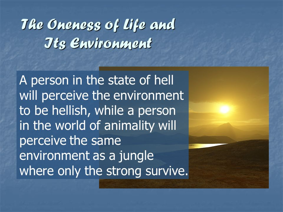 The Oneness of Life and Its Environment A person in the state of hell will perceive the environment to be hellish, while a person in the world of anim