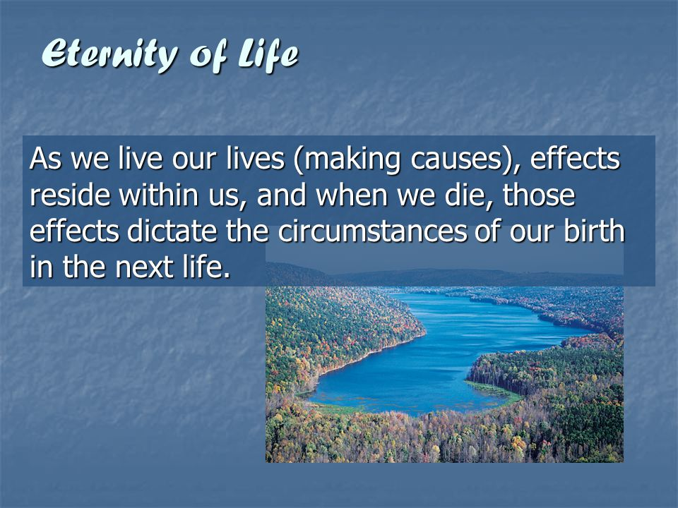 Eternity of Life So when we are reborn, we still face the same problems or karma from causes we have made.