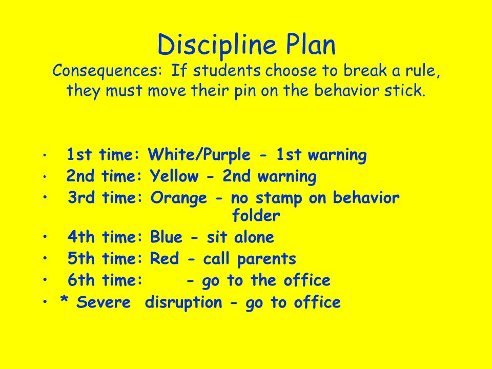 Discipline Plan Consequences: If students choose to break a rule, they must move their pin on the behavior stick. 1st time: White/Purple - 1st warning