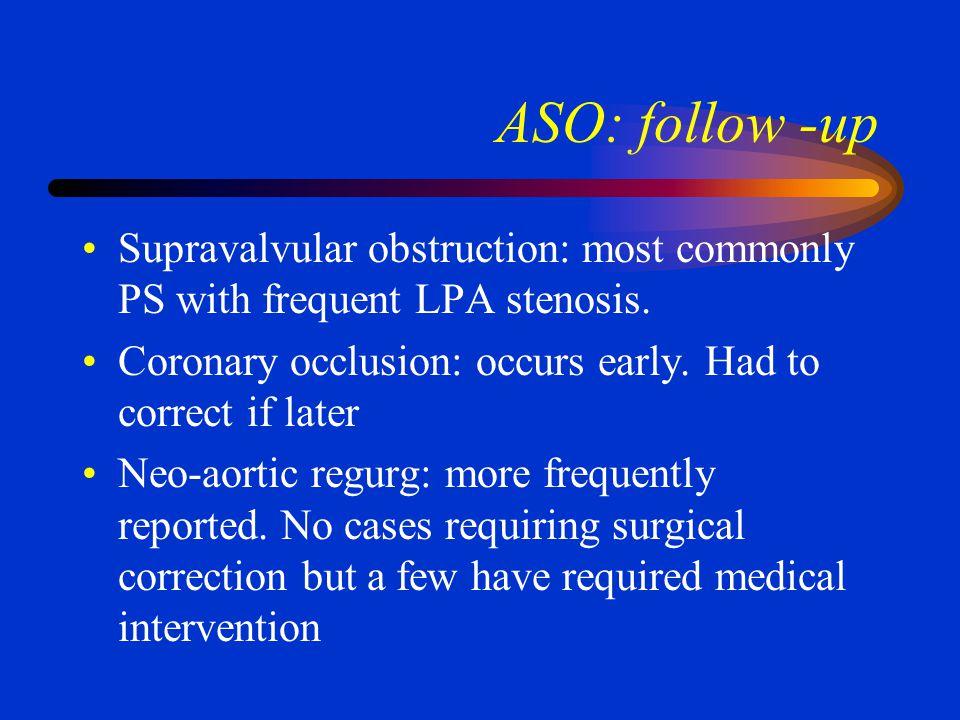 MUSTARD SEQUELAE Sinus node dysfunction: 10 yrs out less than 30% in dominant sinus rhythm. Atrial tachyarrhymias. Ventricular arrhymias….sudden death