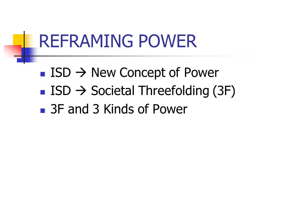 REFRAMING POWER ISD New Concept of Power ISD Societal Threefolding (3F) 3F and 3 Kinds of Power