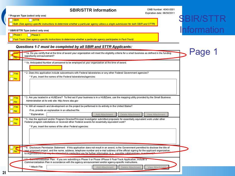 28 SBIR/STTR Information Page 1