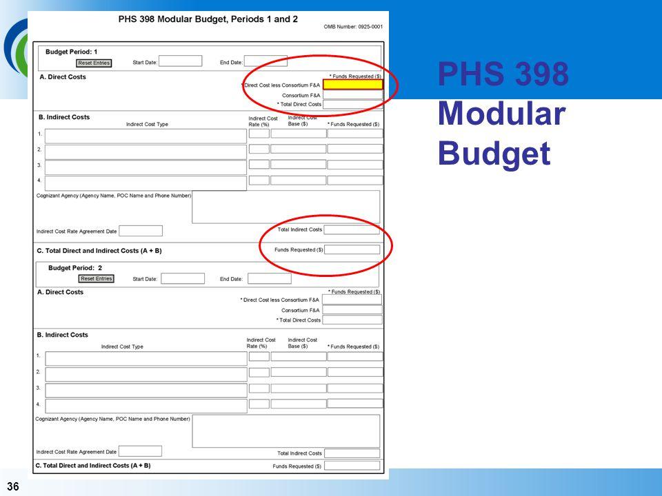 36 PHS 398 Modular Budget