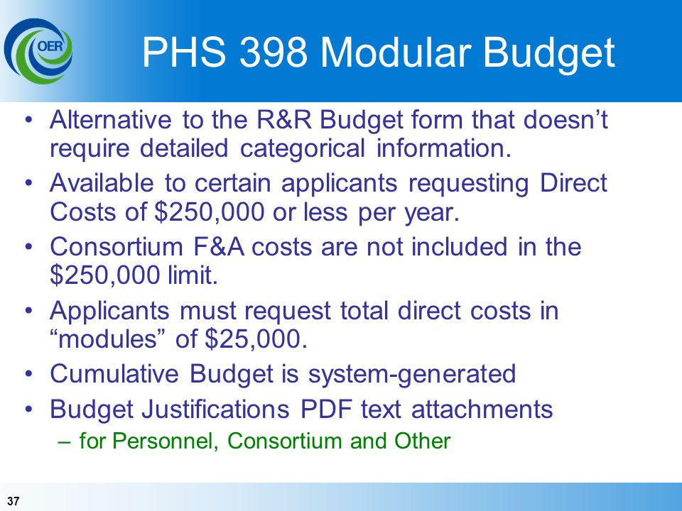 37 PHS 398 Modular Budget Alternative to the R&R Budget form that doesnt require detailed categorical information.