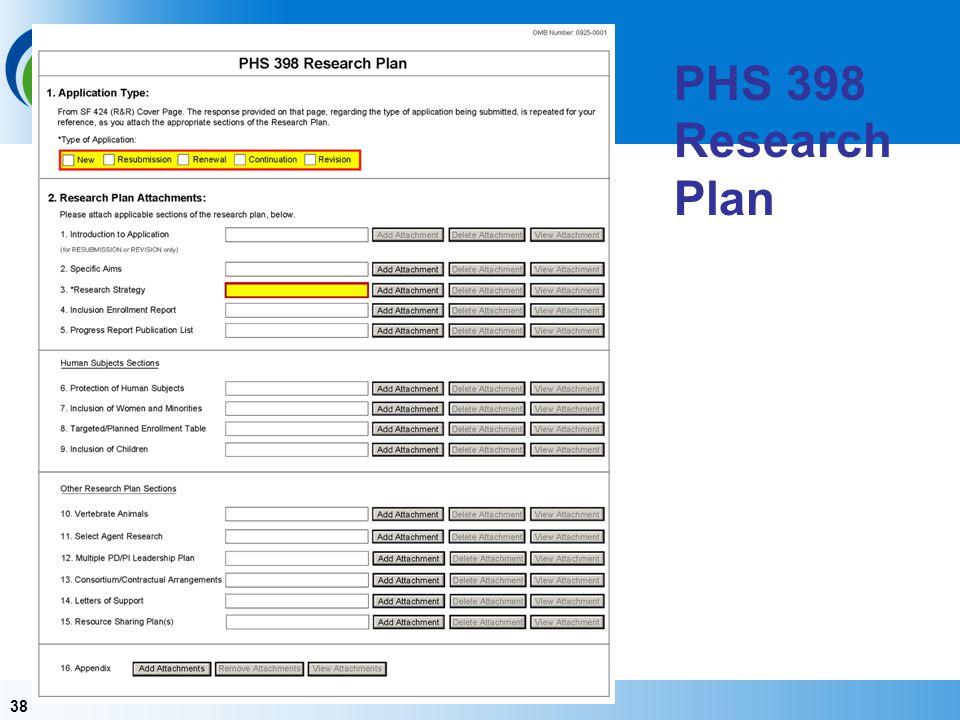 38 PHS 398 Research Plan