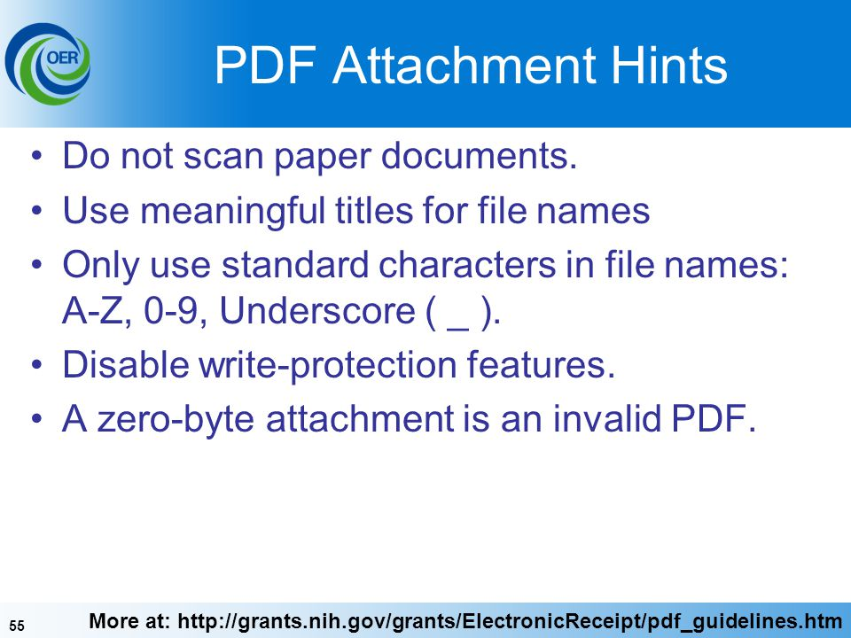 55 PDF Attachment Hints Do not scan paper documents.