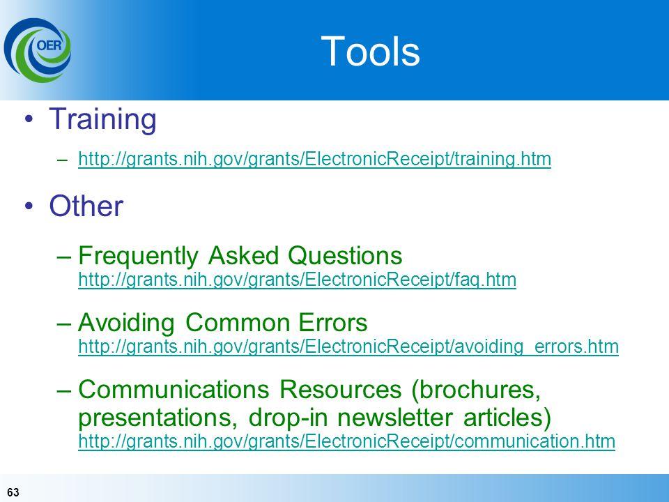 63 Tools Training –http://grants.nih.gov/grants/ElectronicReceipt/training.htmhttp://grants.nih.gov/grants/ElectronicReceipt/training.htm Other –Frequ