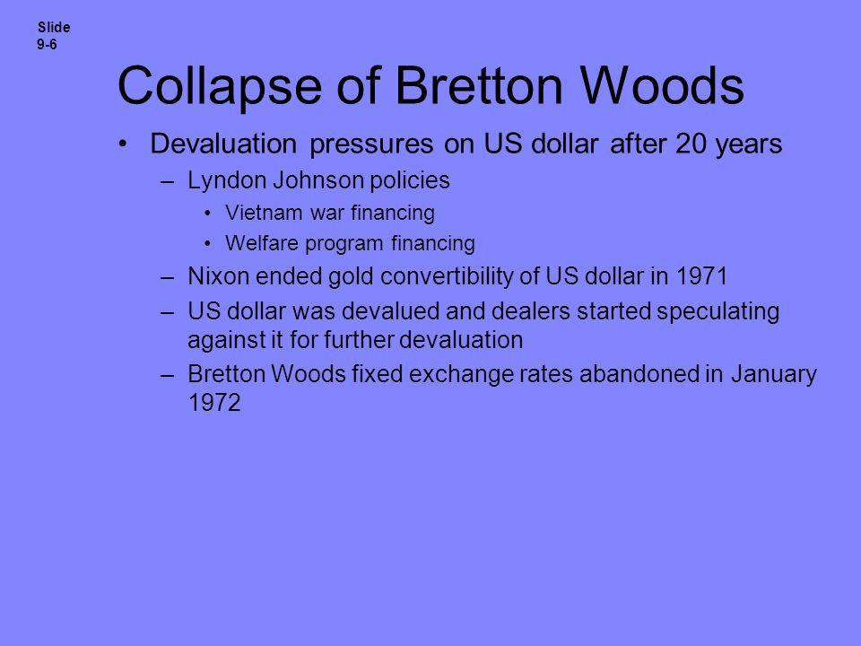 Collapse of Bretton Woods Devaluation pressures on US dollar after 20 years –Lyndon Johnson policies Vietnam war financing Welfare program financing –