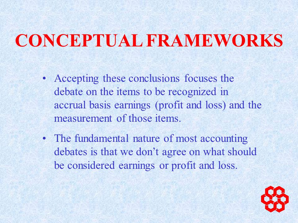 Controversy sometimes over amount Controversy usually over timing and uncontrolled volatility Controversy over classification and display of items in earnings or profit and loss CONCEPTUAL FRAMEWORKS