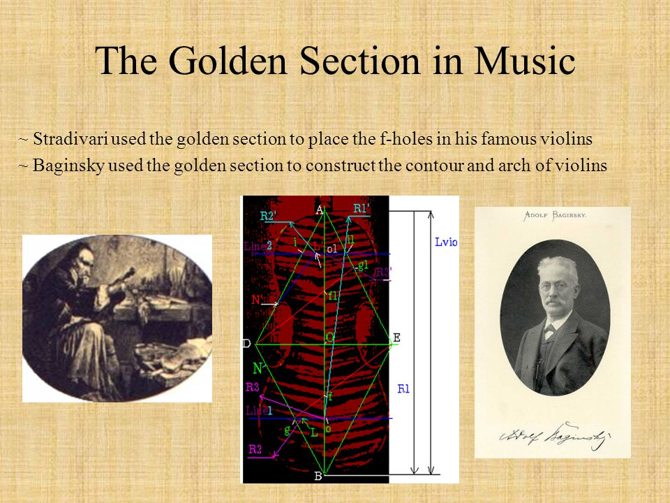 The Golden Section in Music ~ Stradivari used the golden section to place the f-holes in his famous violins ~ Baginsky used the golden section to cons