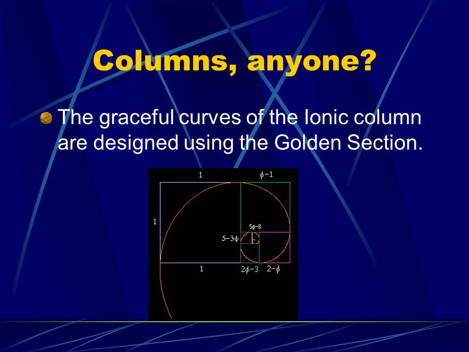 Columns, anyone The graceful curves of the Ionic column are designed using the Golden Section.