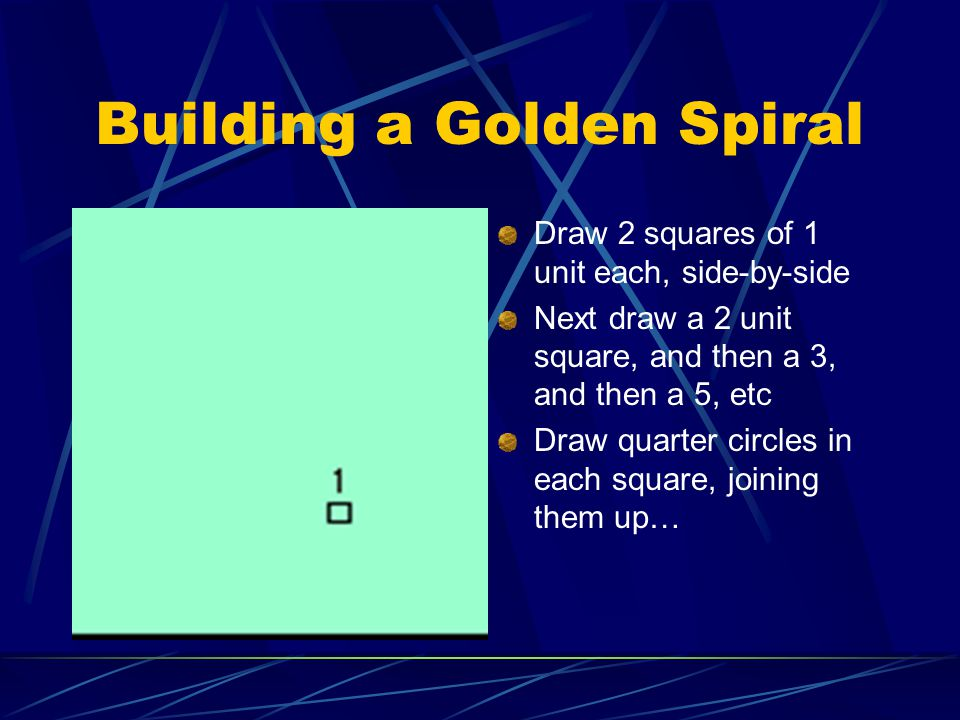 Building a Golden Spiral Draw 2 squares of 1 unit each, side-by-side Next draw a 2 unit square, and then a 3, and then a 5, etc Draw quarter circles in each square, joining them up…