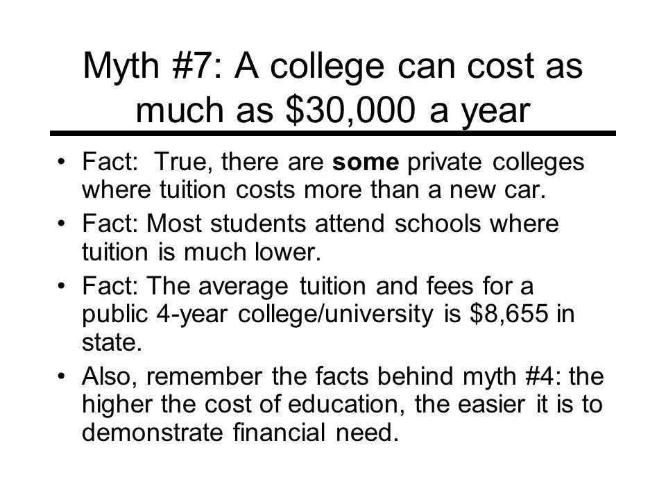 Myth #7: A college can cost as much as $30,000 a year Fact: True, there are some private colleges where tuition costs more than a new car.