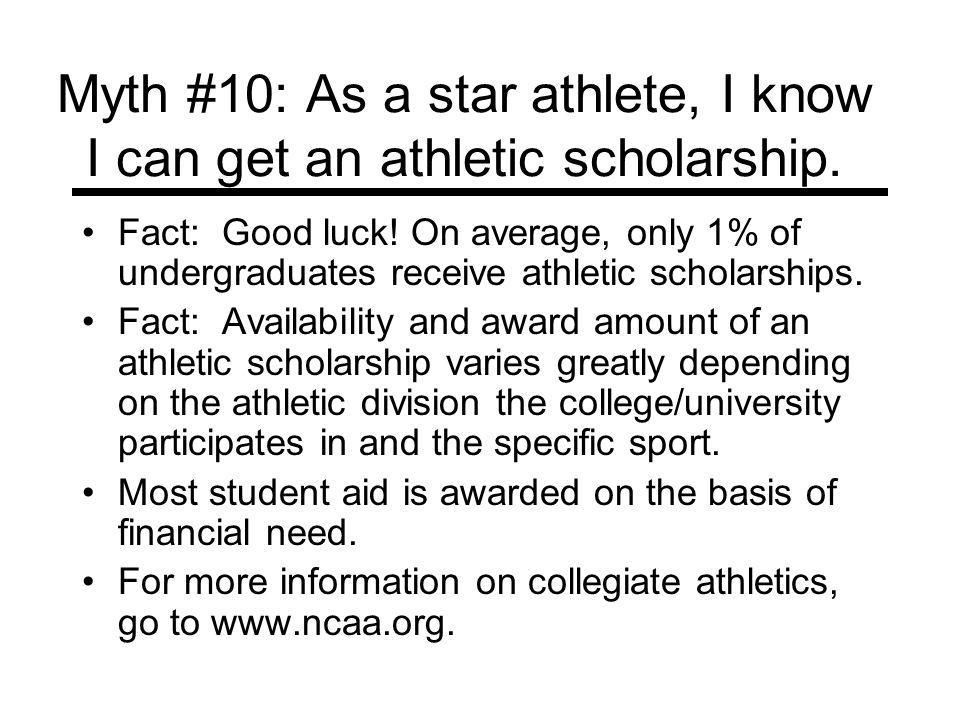 Myth #10: As a star athlete, I know I can get an athletic scholarship.