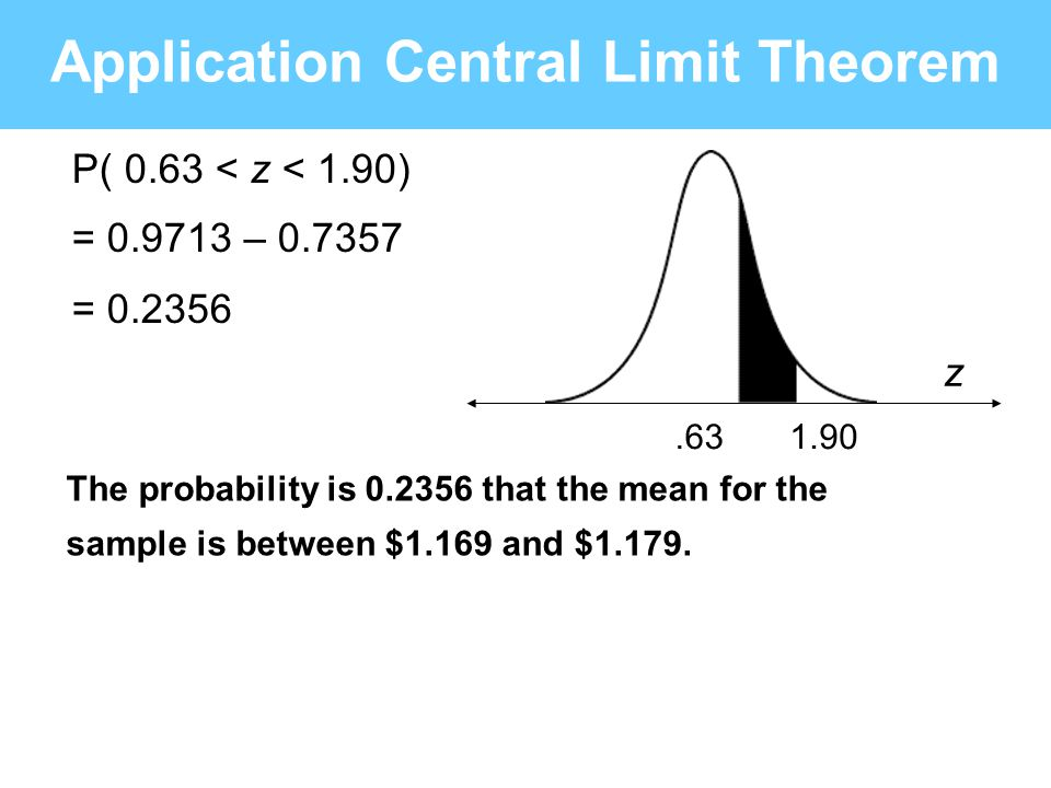 .631.90 z Application Central Limit Theorem P( 0.63 < z < 1.90) = 0.9713 – 0.7357 = 0.2356 The probability is 0.2356 that the mean for the sample is b