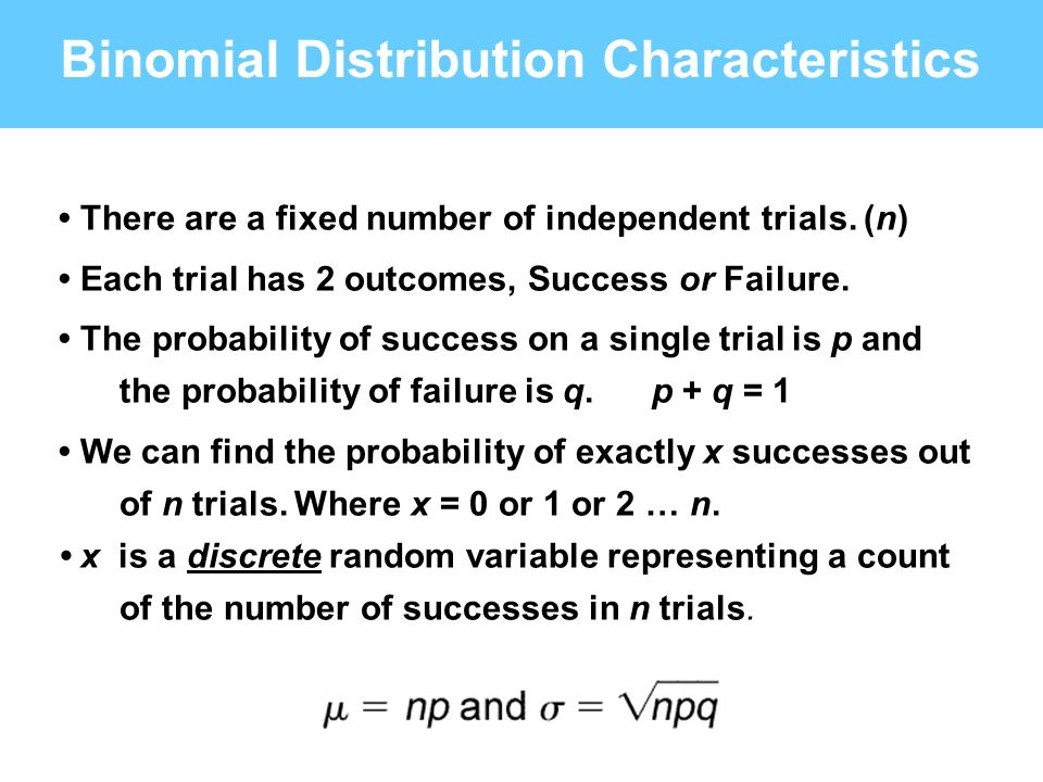 Binomial Distribution Characteristics There are a fixed number of independent trials. (n) Each trial has 2 outcomes, Success or Failure. The probabili