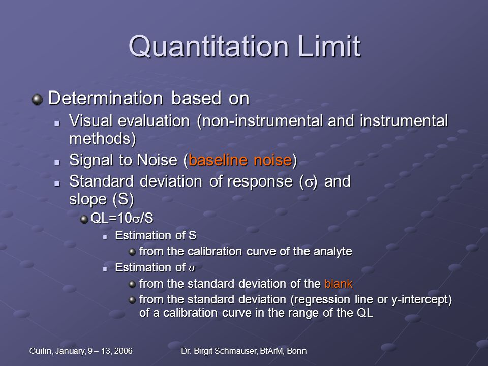 Guilin, January, 9 – 13, 2006Dr. Birgit Schmauser, BfArM, Bonn Quantitation Limit Determination based on Visual evaluation (non-instrumental and instr