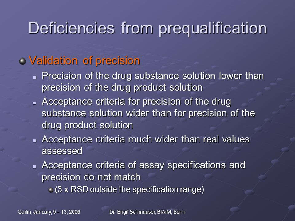 Guilin, January, 9 – 13, 2006Dr. Birgit Schmauser, BfArM, Bonn Deficiencies from prequalification Validation of precision Precision of the drug substa