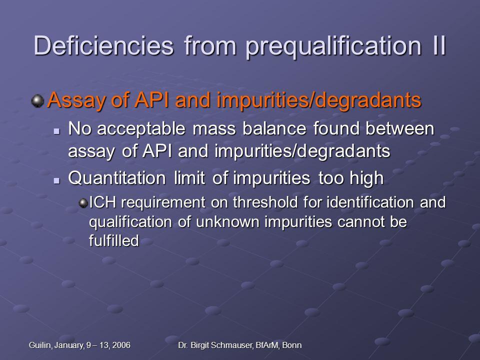 Guilin, January, 9 – 13, 2006Dr. Birgit Schmauser, BfArM, Bonn Deficiencies from prequalification II Assay of API and impurities/degradants No accepta
