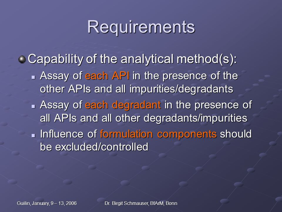 Guilin, January, 9 – 13, 2006Dr. Birgit Schmauser, BfArM, Bonn Requirements Capability of the analytical method(s): Assay of each API in the presence