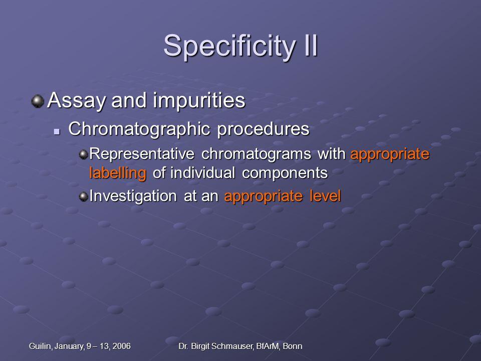 Guilin, January, 9 – 13, 2006Dr. Birgit Schmauser, BfArM, Bonn Specificity II Assay and impurities Chromatographic procedures Chromatographic procedur
