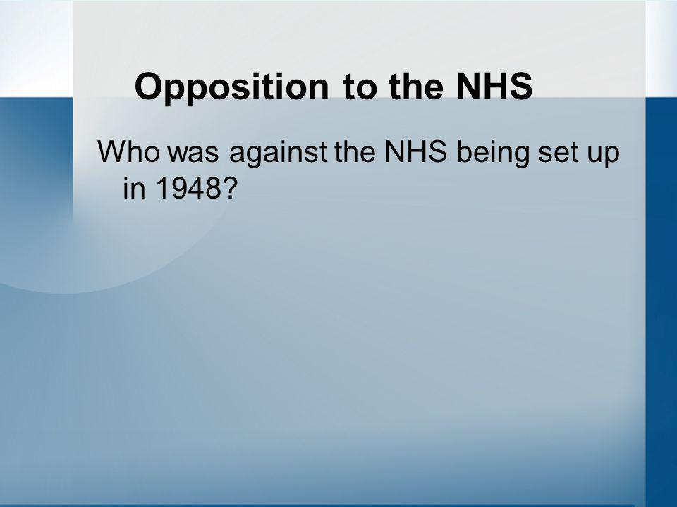 Opposition to the NHS Who was against the NHS being set up in 1948?