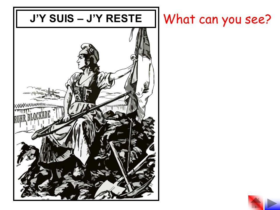 JY SUIS – JY RESTE Now, click on the sections of the poster that you want to find out more about.