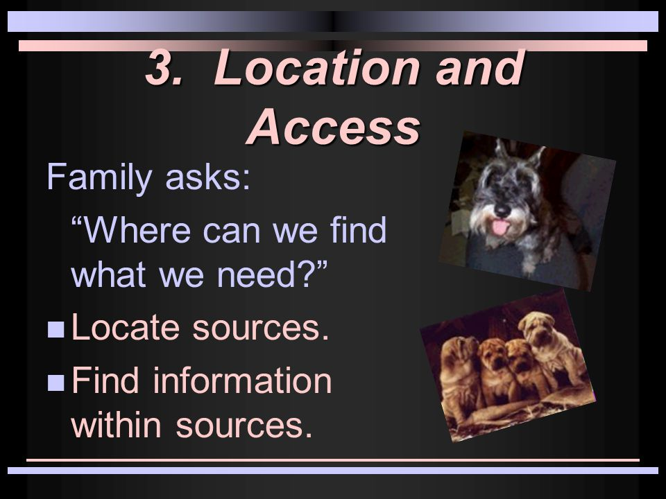 3. Location and Access Family asks: Where can we find what we need.