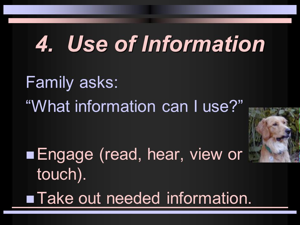 5.Synthesis Family asks: How can we put our information together.