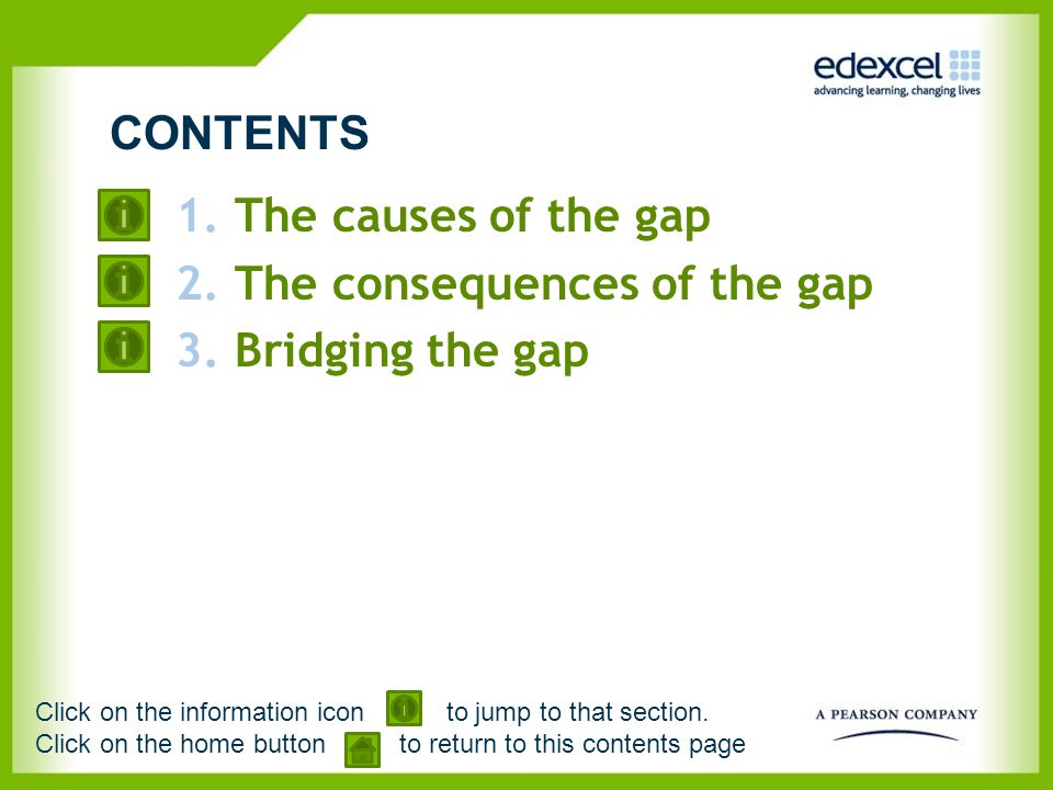 1.The causes of the gap 2.The consequences of the gap 3.Bridging the gap CONTENTS Click on the information icon to jump to that section. Click on the