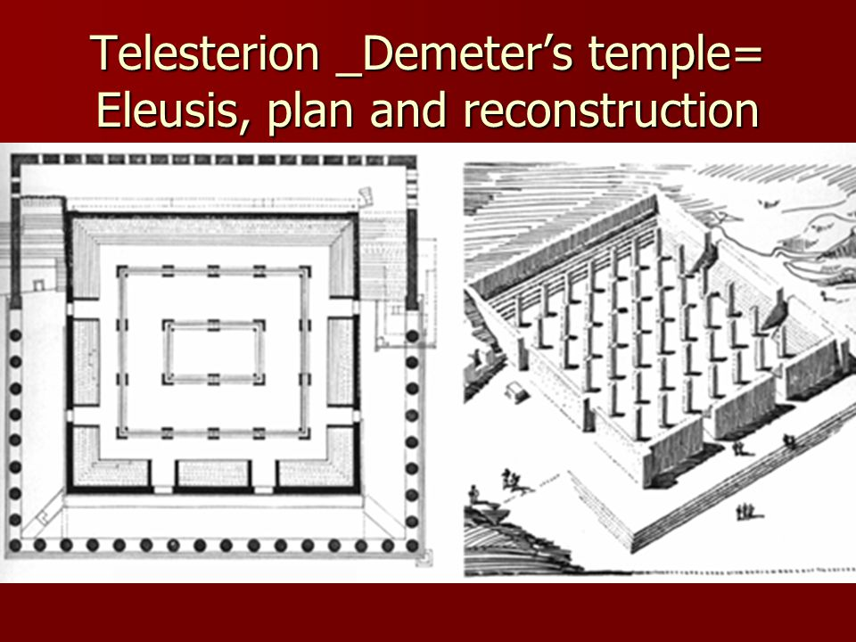 Telesterion _Demeters temple= Eleusis, plan and reconstruction