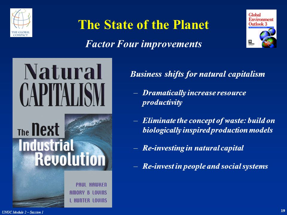 19 UNGC Module 2 – Session 1 Business shifts for natural capitalism –Dramatically increase resource productivity –Eliminate the concept of waste: buil