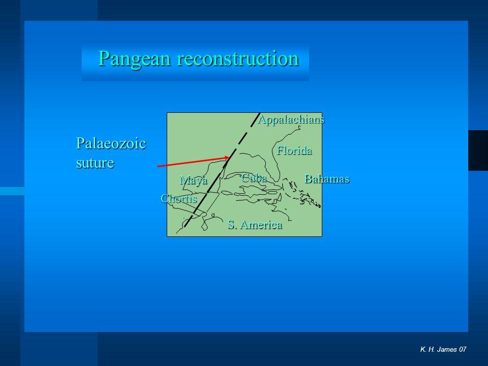 K. H. James 07 Pangean reconstruction Palaeozoic suture Florida Bahamas Cuba S. America Maya Chortis Appalachians