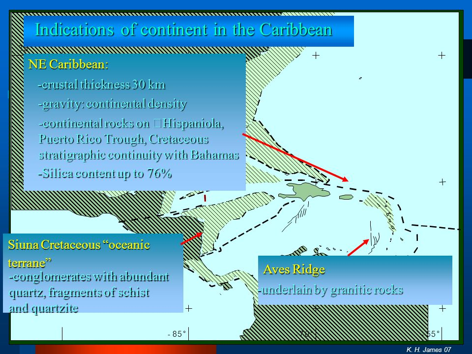 5° 20° 35° -85°-70°-55° Indications of continent in the Caribbean K. H. James 07 NE Caribbean: Aves Ridge -crustal thickness 30 km -continental rocks