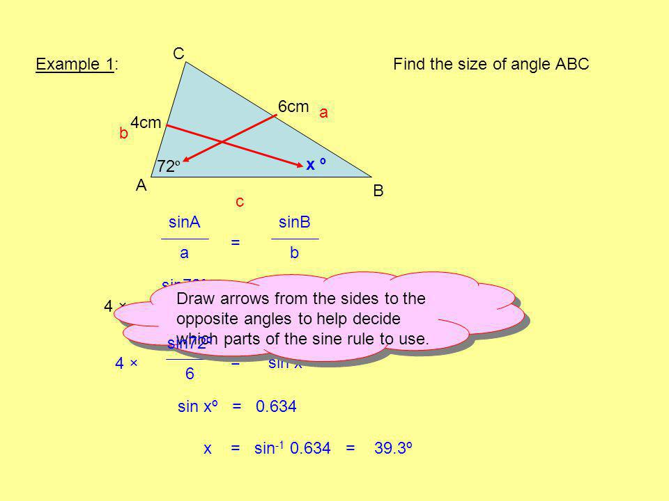 Example 1: A B C 72 º 6cm Find the size of angle ABC x º sinA a sinB b b a c = sin72º 6 sin xº 4 =× 44 ×4 × = sin xº 4 ×4 × sin xº = 0.634 Draw arrows from the sides to the opposite angles to help decide which parts of the sine rule to use.