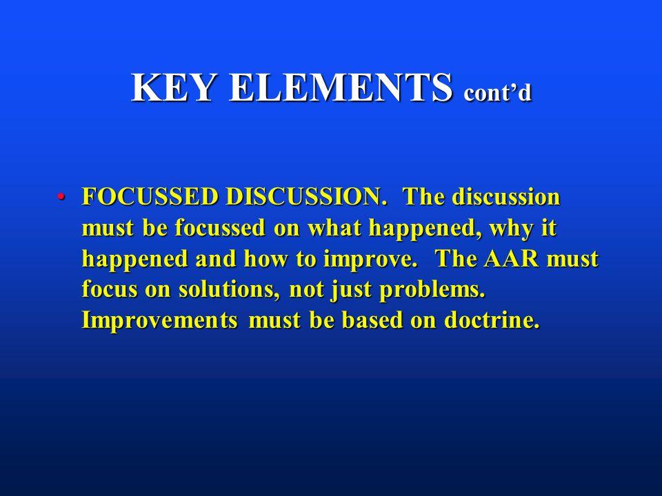 KEY ELEMENTS contd FOCUSSED DISCUSSION.