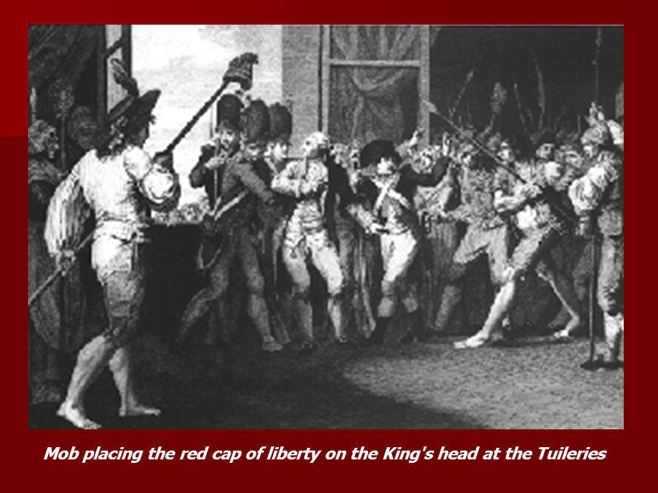 Mob placing the red cap of liberty on the King's head at the Tuileries